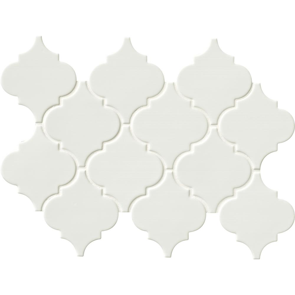 MSI Whisper White Arabesque 10-1/2 in. x 15-1/2 in. x 8mm Glazed Ceramic Mesh-Mounted Mosaic Wall Tile (11.3 sq. ft. / case)