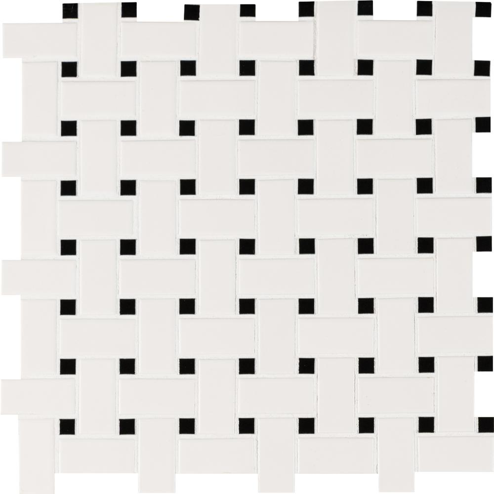 MSI White and Black Basketweave 12 in. x 12 in. x 6mm Porcelain Mesh-Mounted Mosaic Tile - Free Shipping