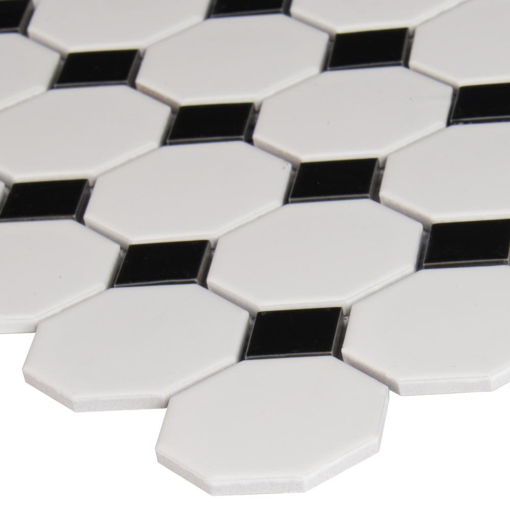 MSI White and Black Octagon 12 in. x 12 in. x 6mm Porcelain Mesh-Mounted Mosaic Tile (MATTE OR GLOSSY) - Free shipping