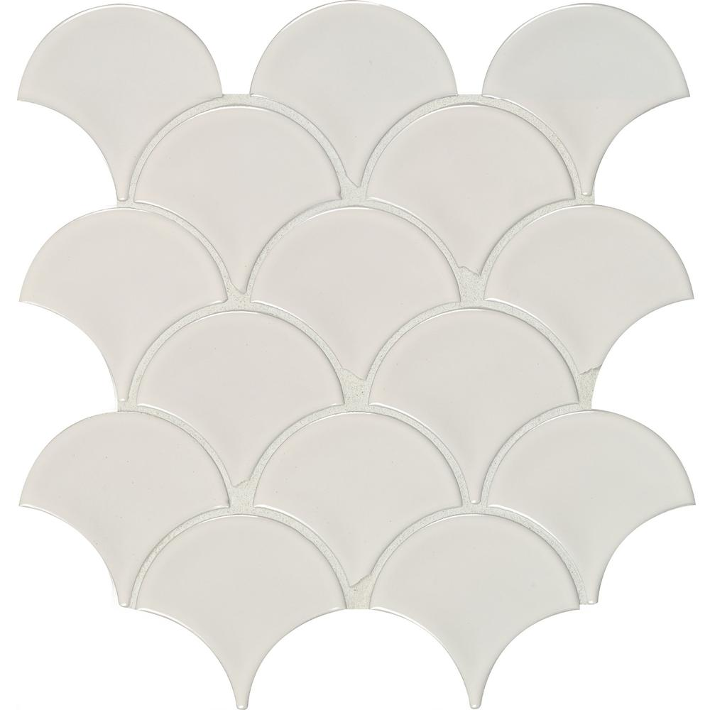 MSI White Glossy Fish Scale Porcelain Mesh-Mounted Mosaic Tile