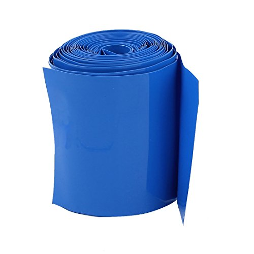 Pie de tubo de PVC termoencogible, ancho plano de 100mm.  Color azul – HS-100BL