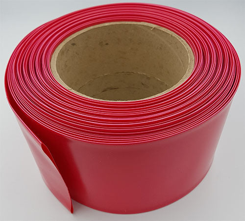 Pie de tubo de PVC termoencogible, ancho plano de 100mm.  Color rojo – HS-100R