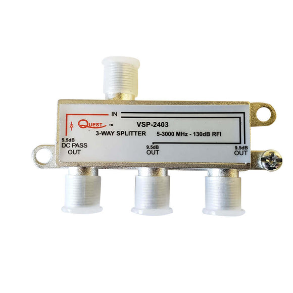Quest VSP-2403 – Splitter para TV satelital de 3 vías, horizontal, 3Ghz