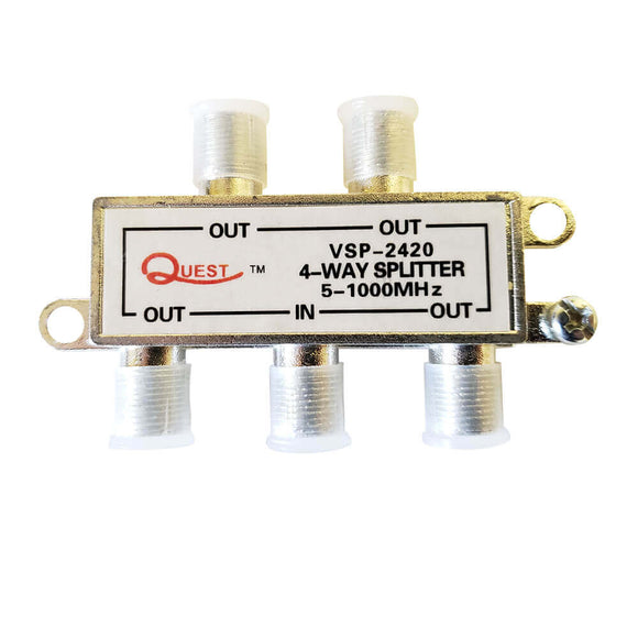 Quest VSP-2420 – Splitter para Cable TV de 4 salidas, horizontal, 1Ghz