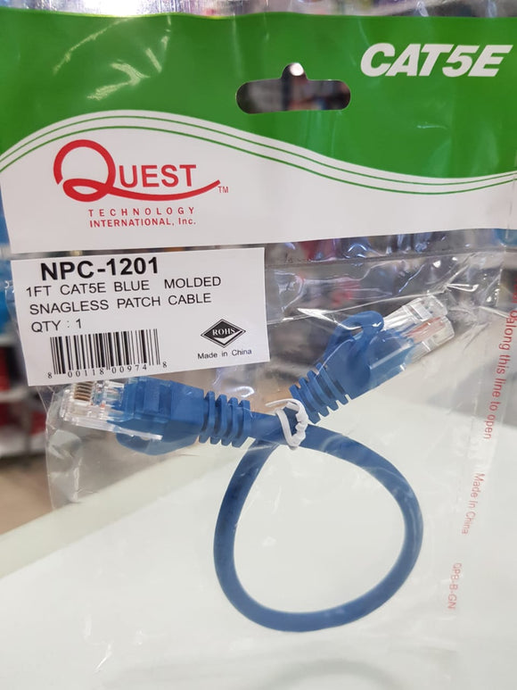 Patch Cord UTP CAT5e Azul, 1 Pie, CMR, 350MHZ – Quest NPC-1201