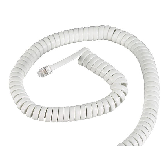 Cable en espiral para auricular, color blanco, 15 pies – KXUS-052WH Kuwes