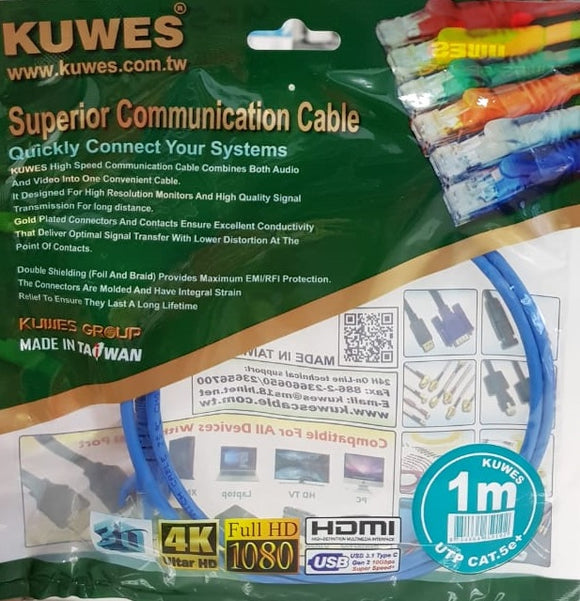 Patch Cord UTP CAT6 de 1M de largo en color Azul - Kuwes KPO1031MBL