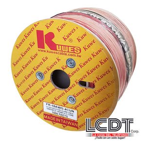 Rollo de cable para incendio 4C 18AWG, cobre, 1000 pies - KUWES FR-18AWG-4CUN