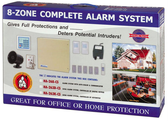 Kit de alarma local contra robo de 8 zonas – HA-263K-CS