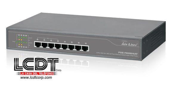 POEFSH804AT - Switch con 8 puertos Fast Ethernet 802.3at/802.3af con 4 puertos PoE
