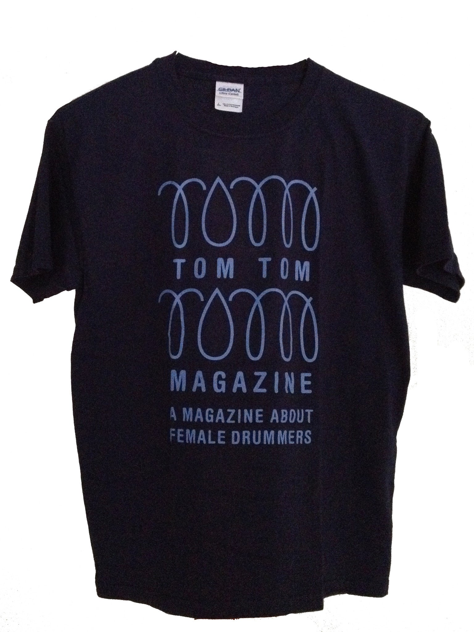 Tom Tom Magazine T-Shirt Navy Blue with Light Blue Print - Drummers | Music | Feminism: Shop Tom Tom