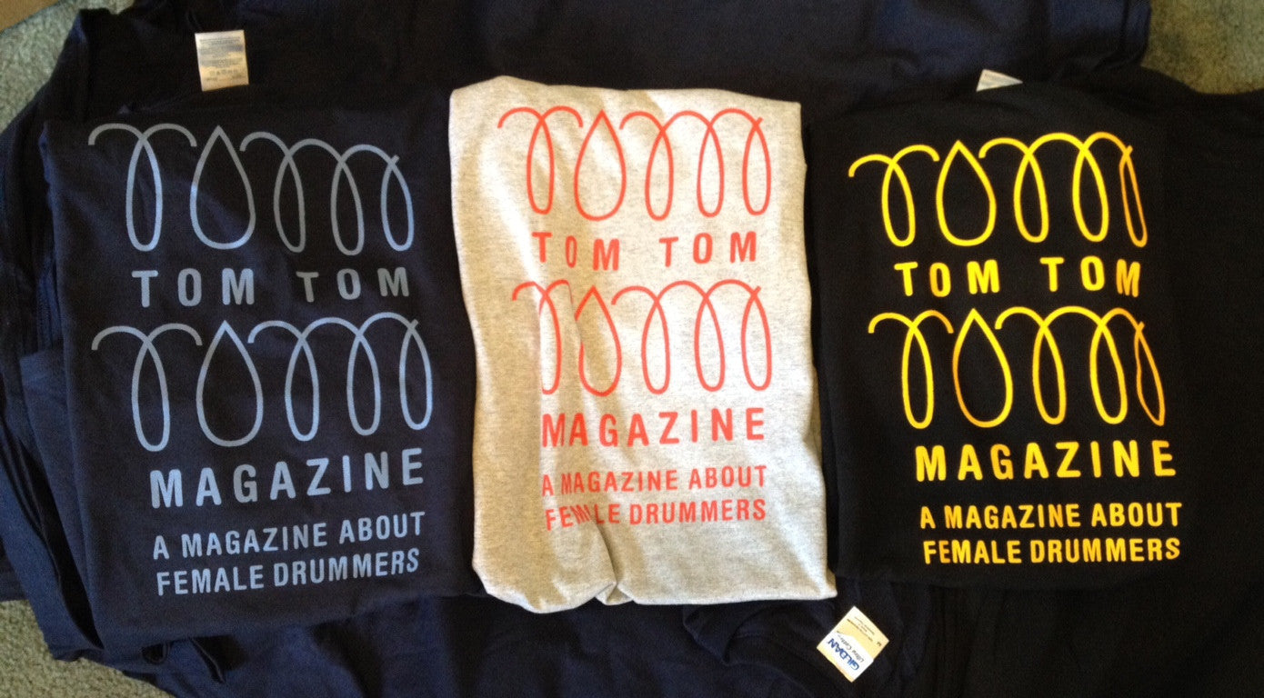 Tom Tom Magazine T-Shirt Grey with Red Print - Drummers | Music | Feminism: Shop Tom Tom