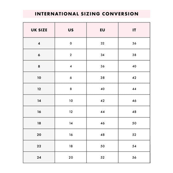 Skinnydip International Size Guide