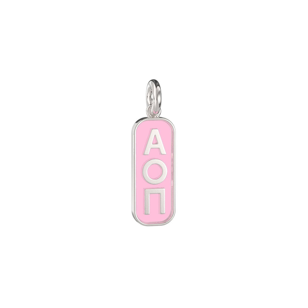 Alpha Omicron Pi Enameled Mini Tag Charm