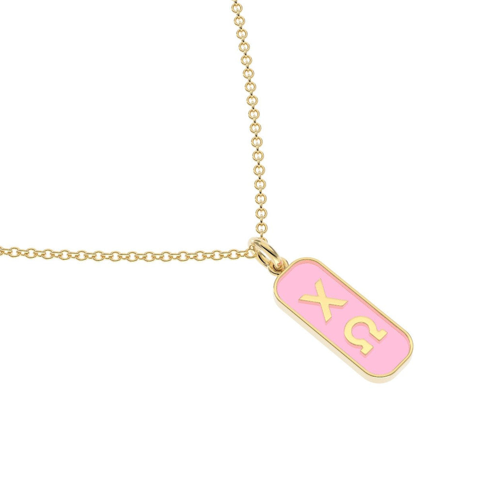 Chi Omega Enameled Mini Tag Necklace