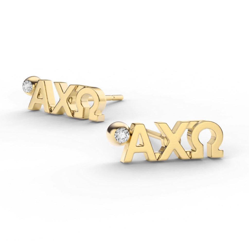 Alpha Chi Omega Letter Studs With Stone