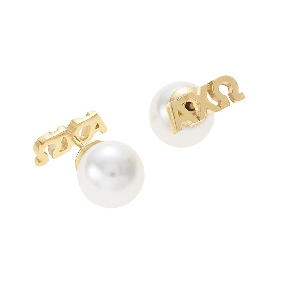 Alpha Chi Omega Letter Studs with Pearl Backs