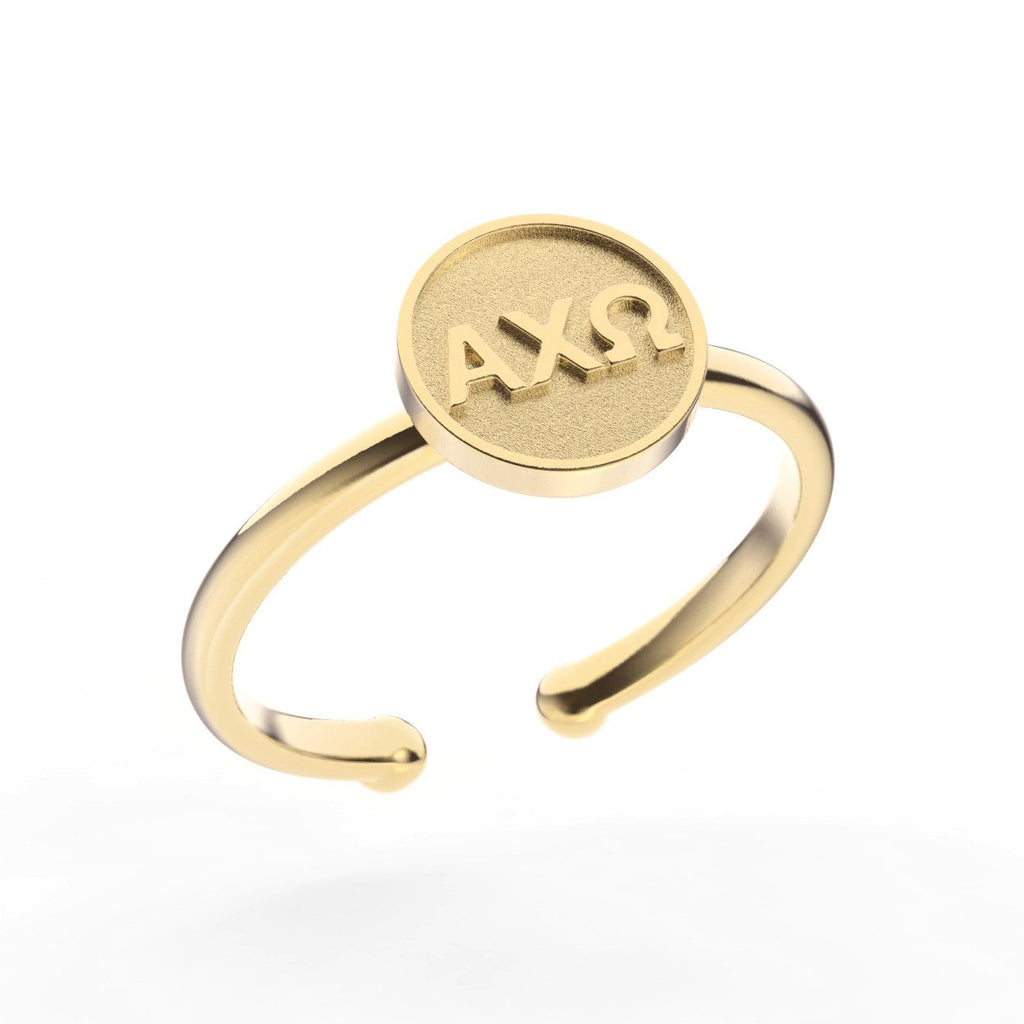 Alpha Chi Omega Disc Letter Ring