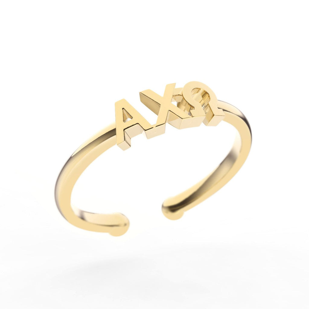 Alpha Chi Omega Thin Band Letter Ring