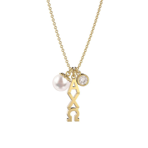 Alpha Chi Omega Triple Charm Necklace
