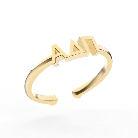 Alpha Delta Pi Thin Band Letter Ring