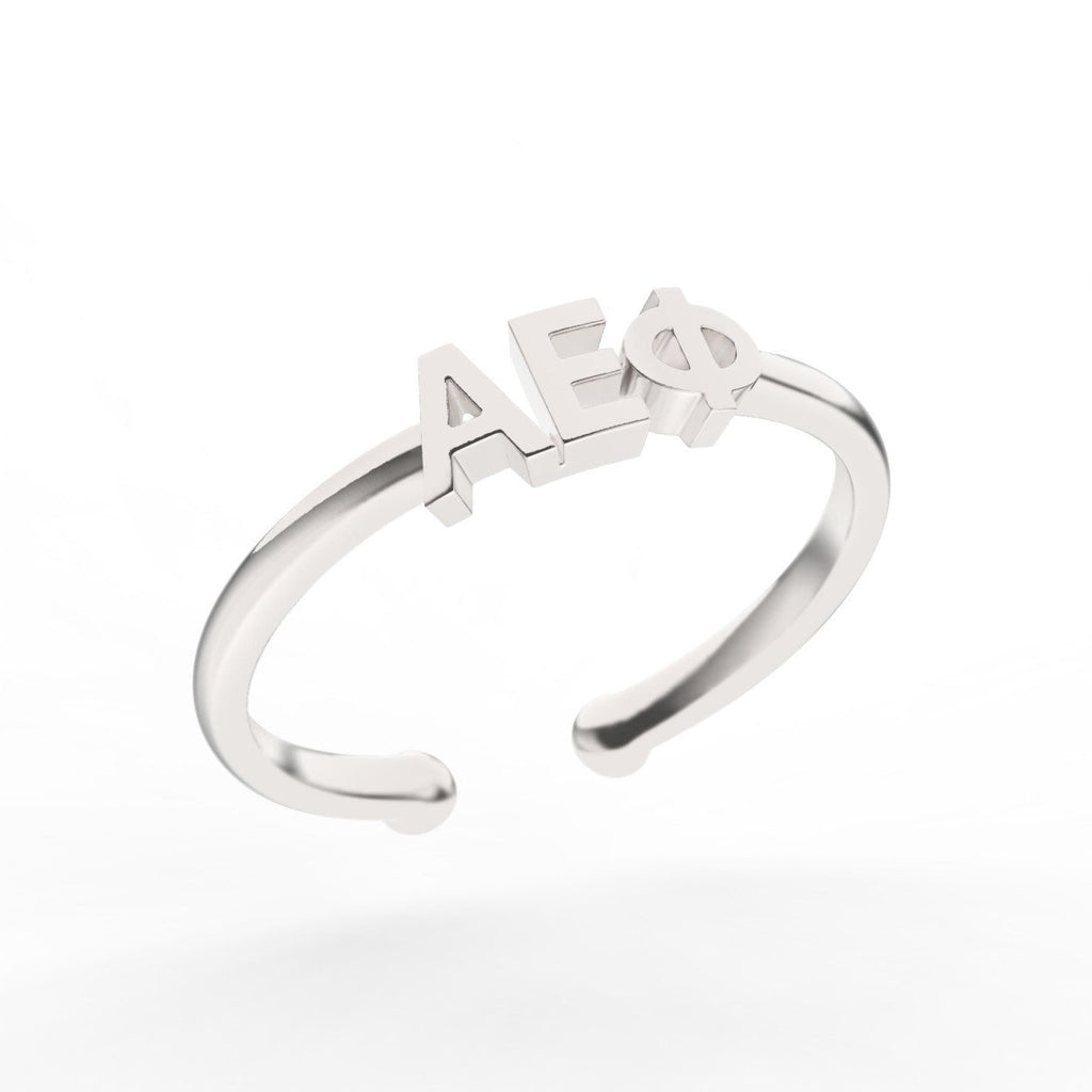 Alpha Epsilon Phi Thin Band Letter Ring