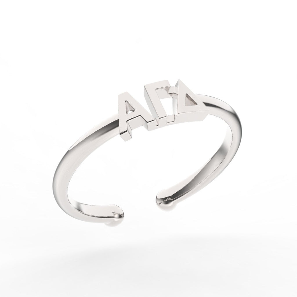 Alpha Gamma Delta Thin Band Letter Ring
