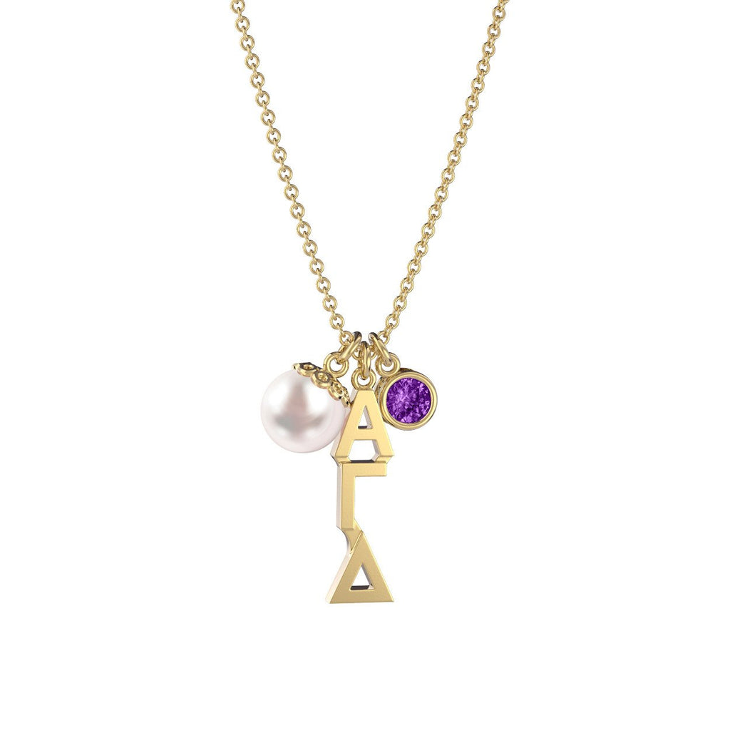 Alpha Gamma Delta Triple Charm Necklace
