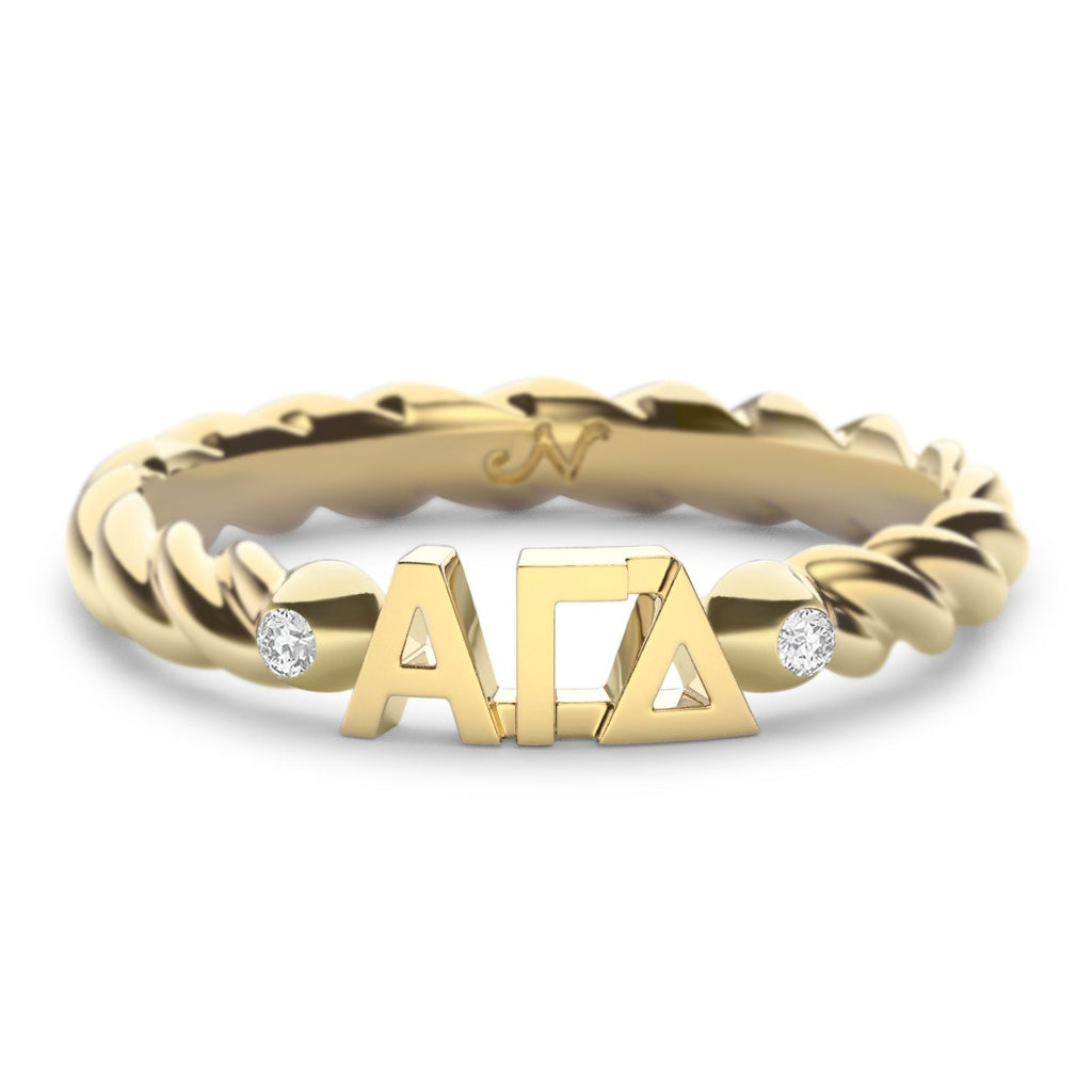 Alpha Gamma Delta Twist Ring