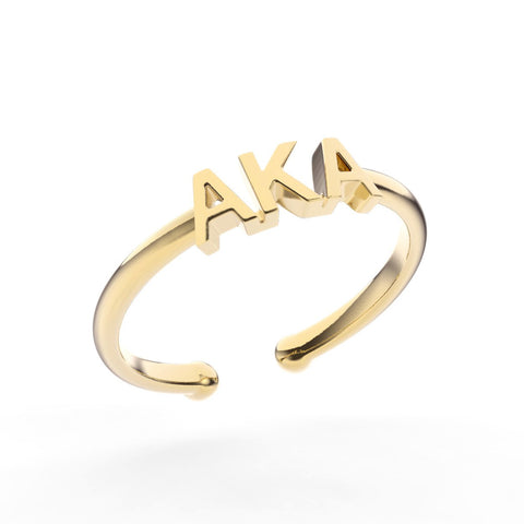 Alpha Kappa Alpha Thin Band Letter Ring