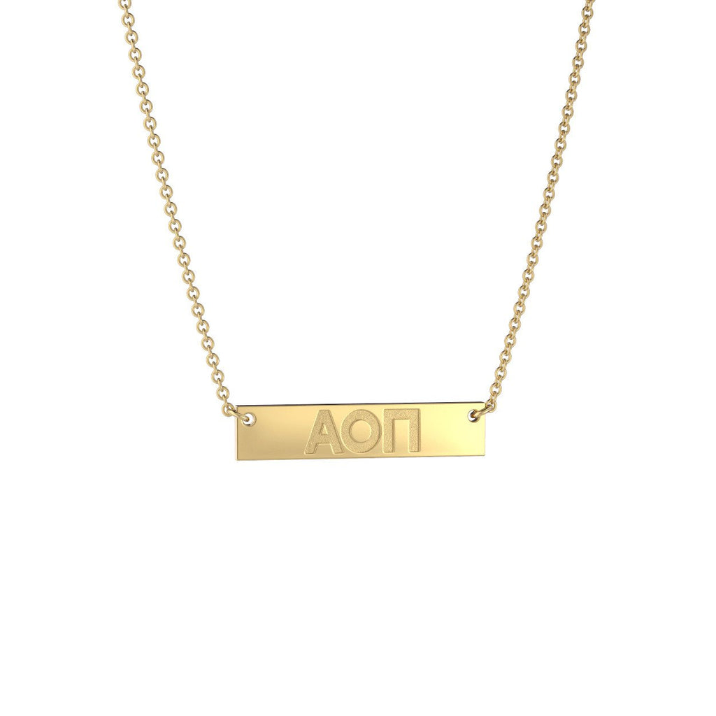 Alpha Omicron Pi Petite Bar Necklace