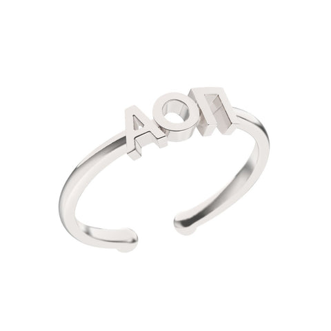 Alpha Omicron Pi Thin Band Letter Ring