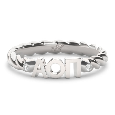Alpha Omicron Pi Twist Ring