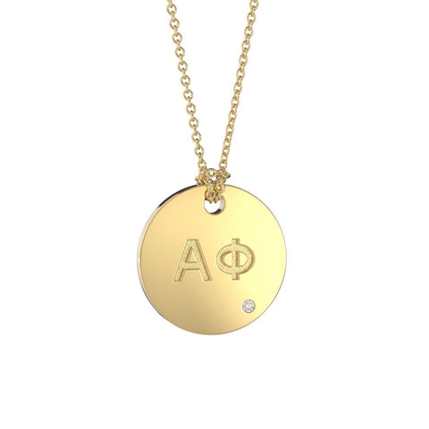 Alpha Phi Coin Pendant Necklace