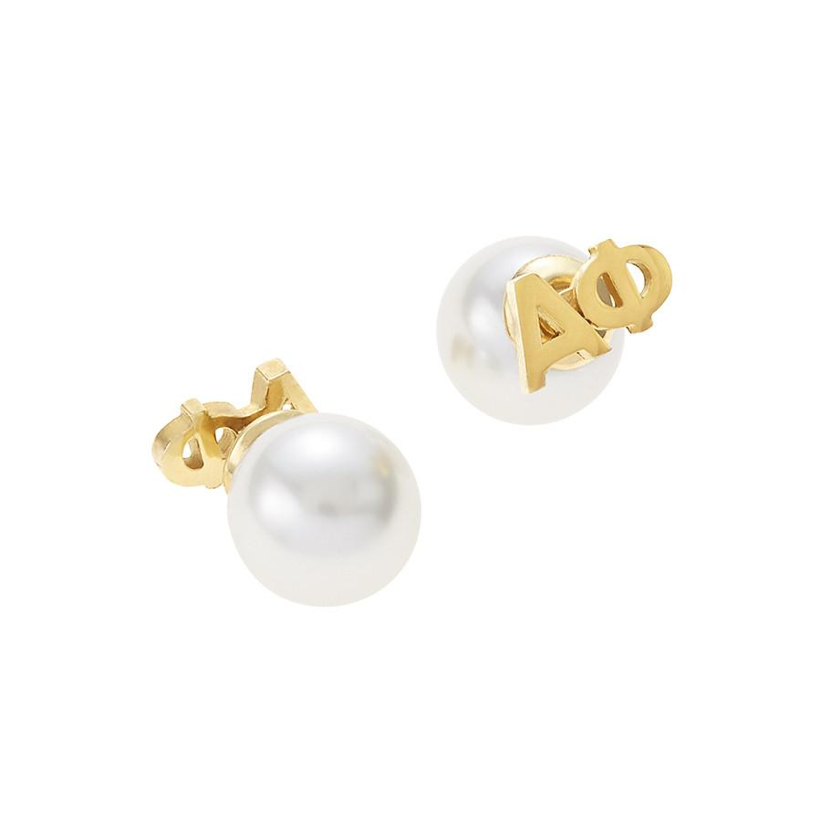 Alpha Phi Letter Studs with Pearl Backs