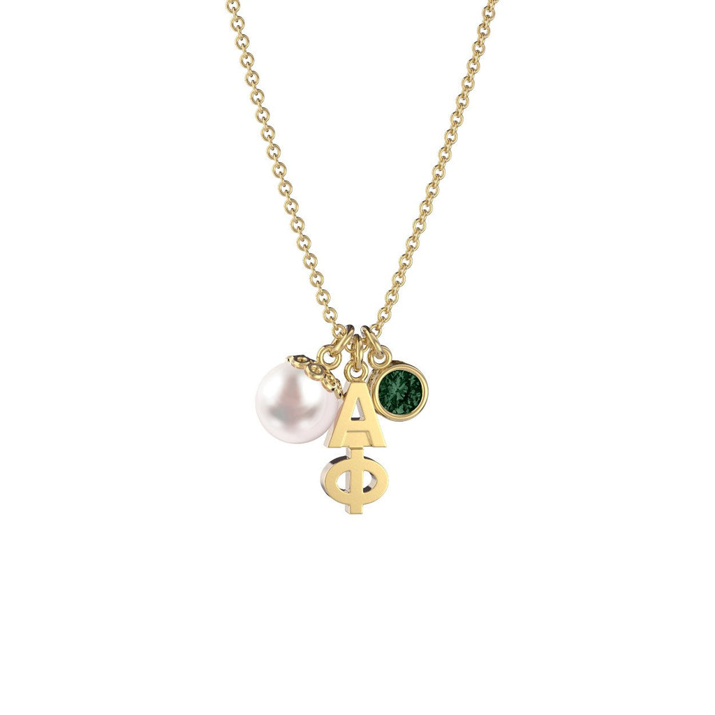 Alpha Phi Triple Charm Necklace
