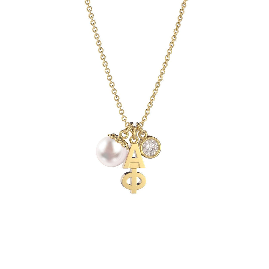 Alpha Phi Triple Charm Necklace Nava New York