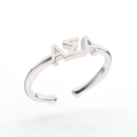Alpha Sigma Alpha Thin Band Letter Ring