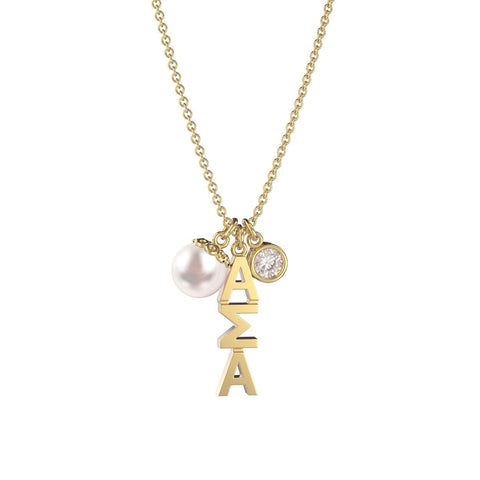 Alpha Sigma Alpha Triple Charm Necklace