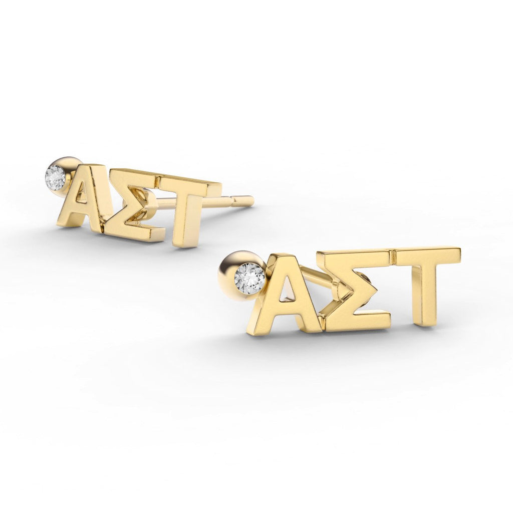 Alpha Sigma Tau Letter Studs With Stone Nava New York