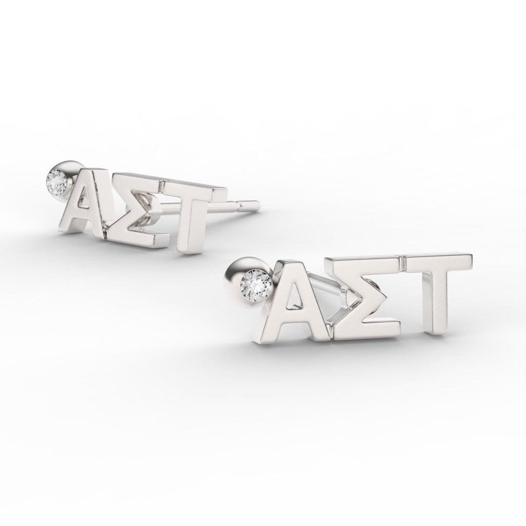 Alpha Sigma Tau Letter Studs With Stone