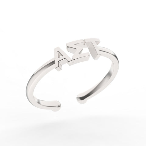 Alpha Sigma Tau Thin Band Letter Ring