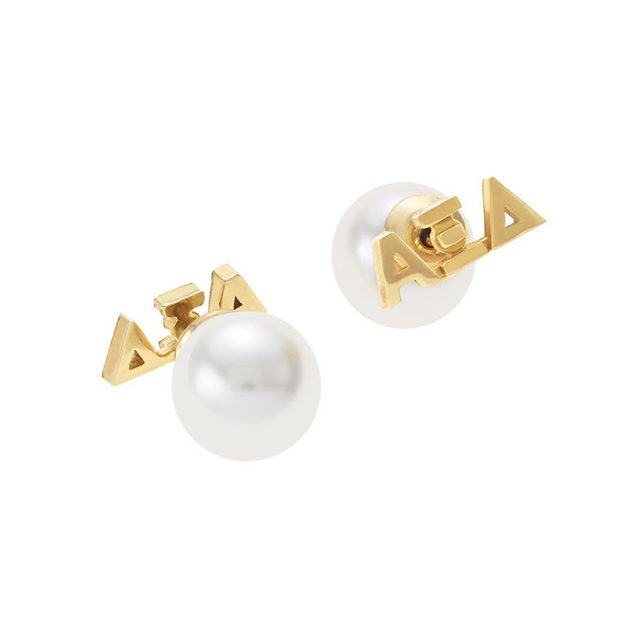 Alpha Xi Delta Letter Studs with Pearl Backs