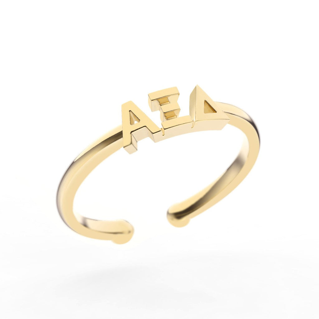 Alpha Xi Delta Thin Band Letter Ring
