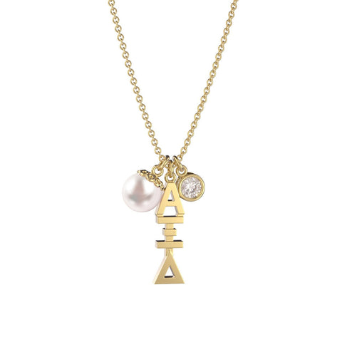 Alpha Xi Delta Triple Charm Necklace