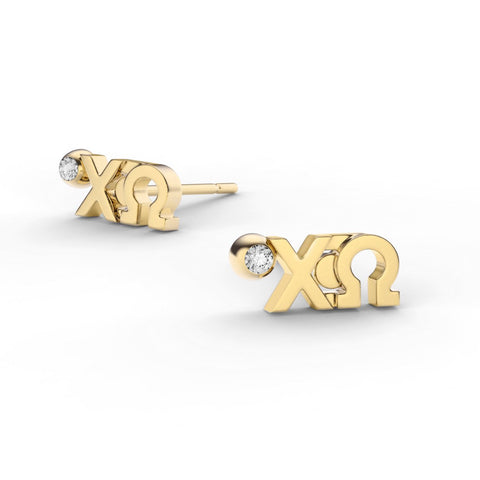Chi Omega Letter Studs With Stone