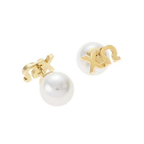 Chi Omega Letter Studs with Pearl Backs