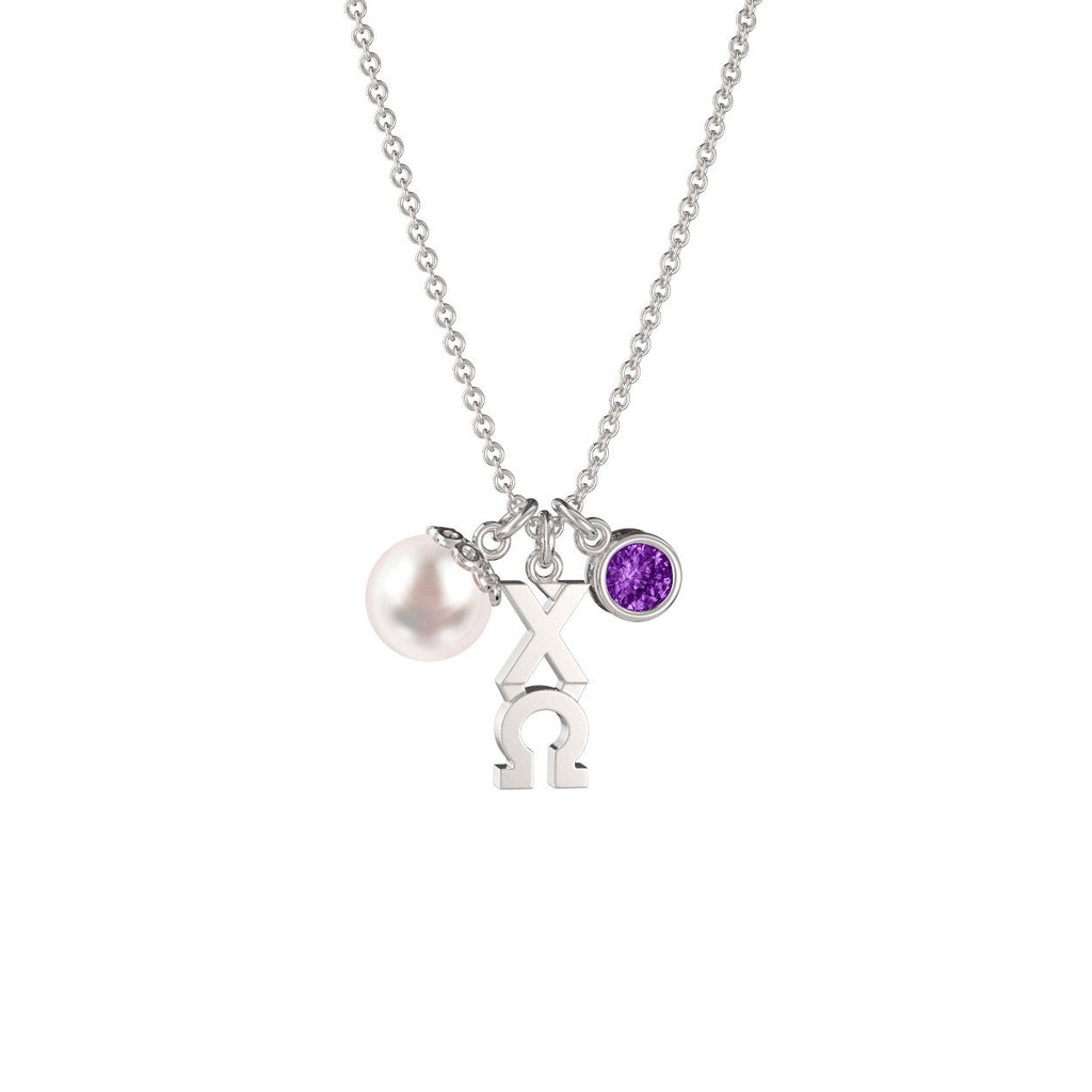 Chi Omega Triple Charm Necklace