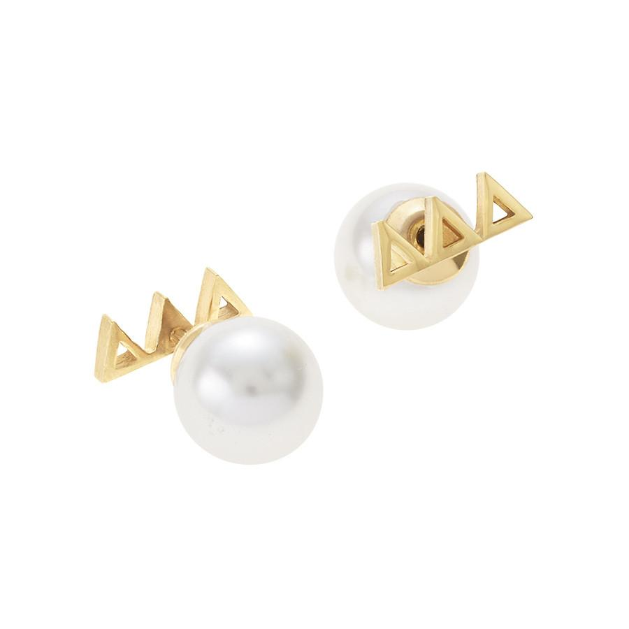 Delta Delta Delta Letter Studs with Pearl Backs