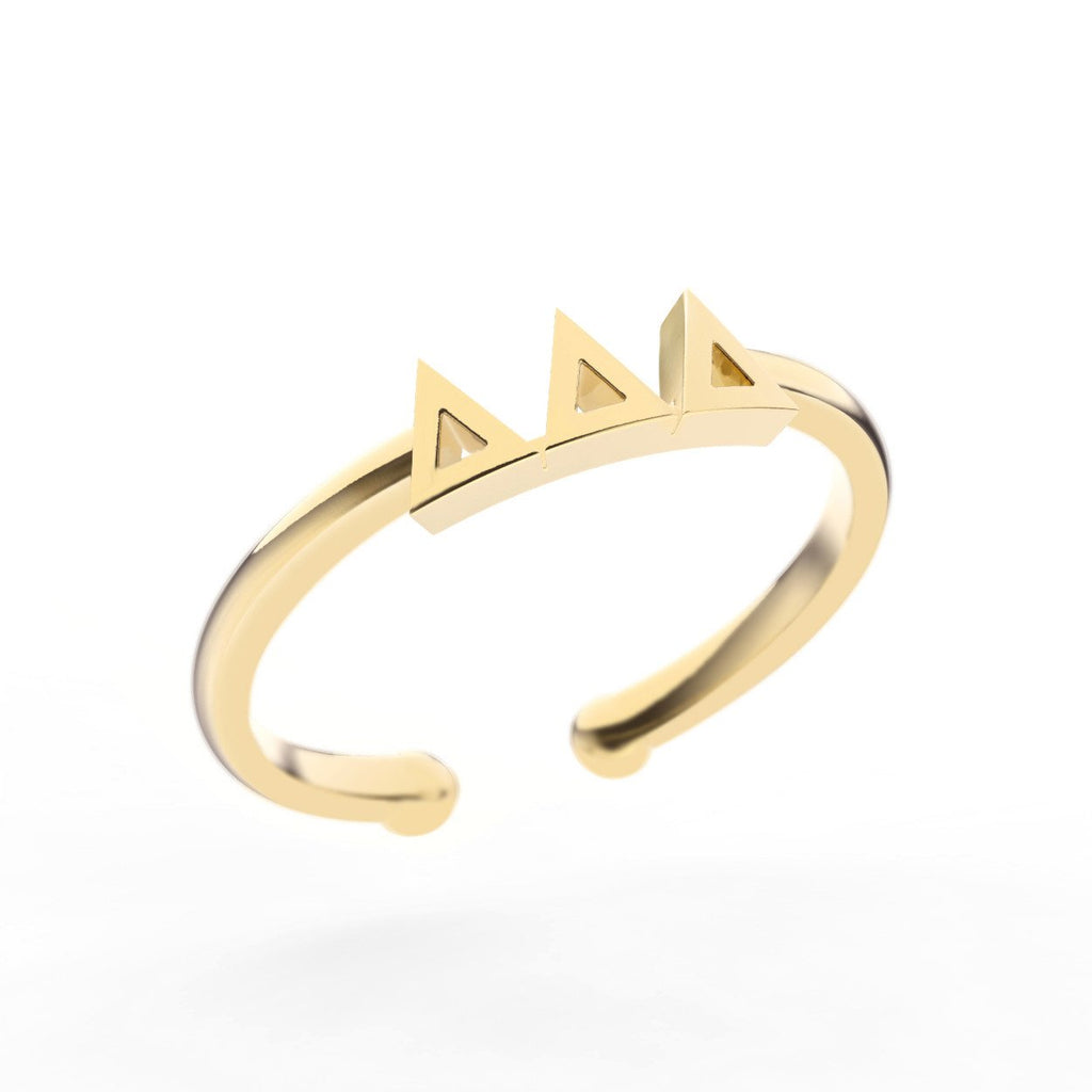 Delta Delta Delta Thin Band Letter Ring